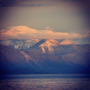 The #serenity and #beauty of #Lake #Tahoe #snow topped #mountains ~ #sunset #water #reflection #California