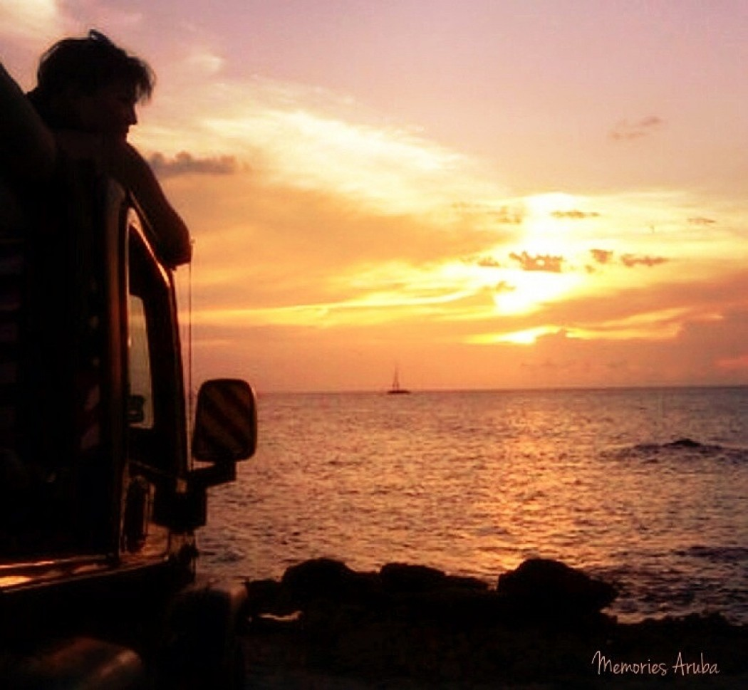Enjoying the Beautiful Aruba Sunset from our Jeep!